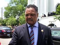 Reverend Jesse Jackson at funeral for Cynthia Hurd. Stock Photo