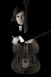 Reverie contrabass musician in sepia Stock Photos