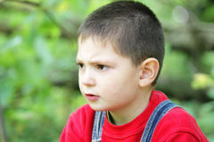 Reverie facial expression. On little boy face outdoor photo stock photo