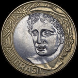 Revers монетка 1 реального (Бразилия) Стоковое Изображение