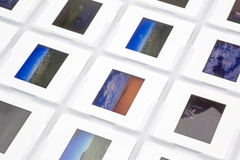 Reversal films. Pictured mounted reversal films in a white background Stock Image