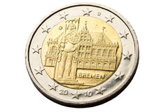 Reverse of 2 euro coin Royalty Free Stock Photo