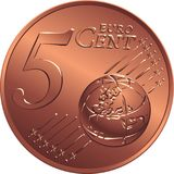 Vector money bronze coin five euro cent. Reverse bronze money five euro with Value Royalty Free Stock Photo