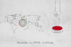 World map with thermostat next to reverse climate change red but. Reverse climate change conceptual illustration: world map with thermostat next to red buttion vector illustration