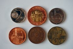Six coins from the Czech Republic stock photo