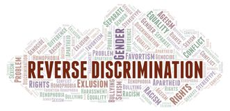 Reverse Discrimination - type of discrimination - word cloud. Wordcloud made with text only stock illustration