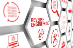 REVERSE ENGINEERING concept. Cell blurred background 3d illustration Stock Photos