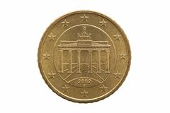 Reverse of a Fifty cent euro coin of Germany. Dated 2002 showing the Brandenburg Gate cut out and isolated on a white background stock photo