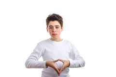 Reverse Hand steeple gesture by Caucasian boy with acne-prone sk Royalty Free Stock Photography