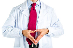 Reverse Hand steeple gesture by doctor in white coat Stock Photo