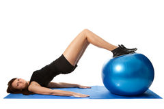 Reverse leg roll excercise Royalty Free Stock Images