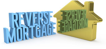 Reverse Mortgage house home money. Home Reverse Mortgage money concept as gold house symbol royalty free illustration