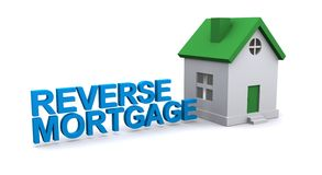 Reverse mortgage sign. Illustrated reverse mortgage sign with a house beside royalty free stock images