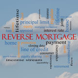 Reverse Mortgage Word Cloud Concept on a cloud background. With great terms such as payment, equity, quote, fees and more Stock Image