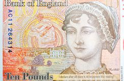 Potrait OF Jane Austin on Ten Pound Note. Reverse of new UK ten pound note with portrait of Jane Austen royalty free stock image