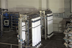 Reverse osmosis equipment inside of plant Stock Photos