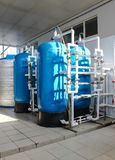 Reverse osmosis system - installation of industrial membrane devices. To the purification of drinking water: pumps, pipelines, tanks, etc stock photography
