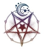 Reverse pentagram symbol with moon and stars. Vision of witchcraft. Alchemy, religion, spirituality, occultism, tattoo art. Isolated vector illustration Royalty Free Stock Photography