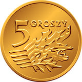 Reverse Polish Money five groszy copper coin Royalty Free Stock Image