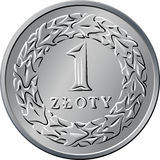 Reverse Polish Money one zloty coin Stock Photography