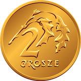 Reverse  Polish Money two groszy copper coin Royalty Free Stock Photo