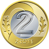 Reverse Polish Money two zloty coin Royalty Free Stock Photography