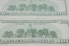 The reverse side of American dollars. Background of dollar bills.  royalty free stock photo