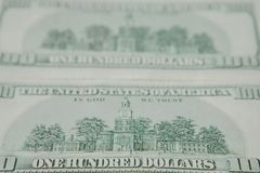 The reverse side of American dollars. Background of dollar bills.  royalty free stock image