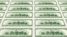 Reverse side of 100 dollar bills 3d perspective Stock Photo