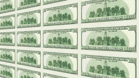Reverse side of 100 dollar bills 3d perspective Royalty Free Stock Photos