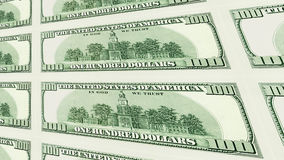 Reverse side of 100 dollar bills 3d perspective Royalty Free Stock Image