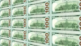 Reverse side of new 100 dollar bills 3d. Looped. stock footage