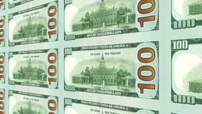 Reverse side of new 100 dollar bills in 3d perspective stock footage