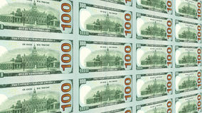 Reverse side of new 100 dollar bills 3d view Royalty Free Stock Image