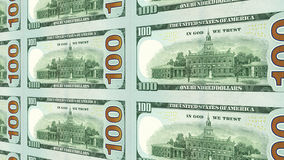 Reverse side of new 100 dollar bills 3d view Royalty Free Stock Photos