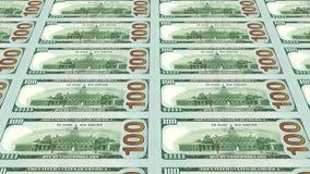 Reverse side of new 100 dollar bills 3d view Stock Photos