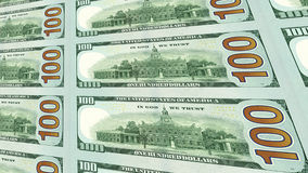 Reverse side of new 100 dollar bills 3d view Stock Images
