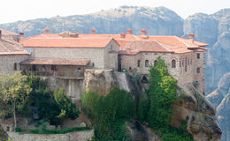 Reverse side ofGreek rocks monasteries Royalty Free Stock Photo