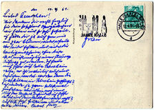 Reverse side of an old postal card Royalty Free Stock Photos