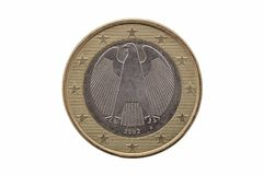 Reverse side of a One Euro coin of Germany. Dated 2002 which shows the German eagle cut out and isolated on a white background royalty free stock photography