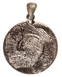 Reverse side of silver pendant Royalty Free Stock Photos