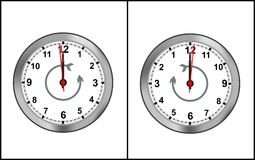 Reverse time clock - cdr format. Two reverse time clocks on white background Royalty Free Stock Photos