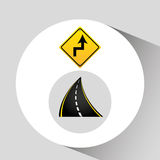 Reverse turn road sign concept graphic Stock Photo