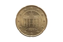 Reverse of a Twenty cent euro coin of Germany Brandenburg Gate in Berlin. Reverse of a Twenty cent euro coin of Germany dated 2002 showing the Brandenburg Gate royalty free stock photography