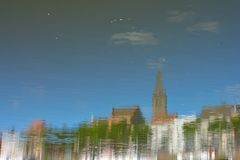 Reversed image concept: reflection of the city of Ghent Stock Photography