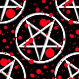 Reversed pentagram seamless pattern. Brush drawing magic occult star symbol with red blood splatter drops over black. Vector background illustration Stock Photography
