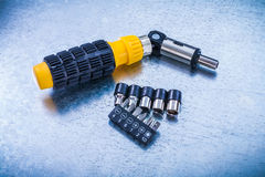 Reversible turnscrew set of screw bits and torxes Stock Photo