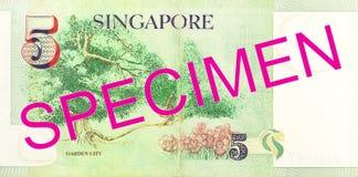 reverso da cédula de 5 dólares de Cingapura imagens de stock royalty free