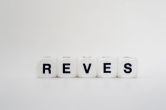 Reves, dice letters Stock Photos