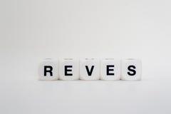 Reves, lettere dei dadi Fotografie Stock